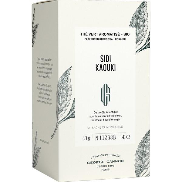 SIDI KAOUKI - Thé vert aromatisé BIO George Cannon - Boîte 20 sachets individuels