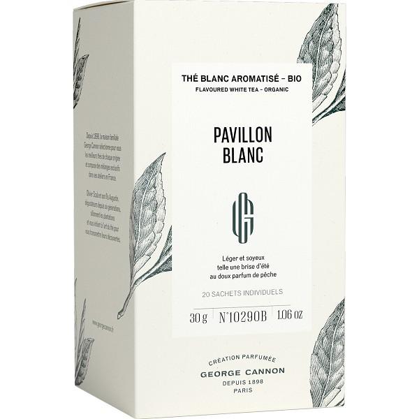 PAVILLON BLANC - Thé blanc aromatisé BIO George Cannon - Boîte 20 sachets individuels