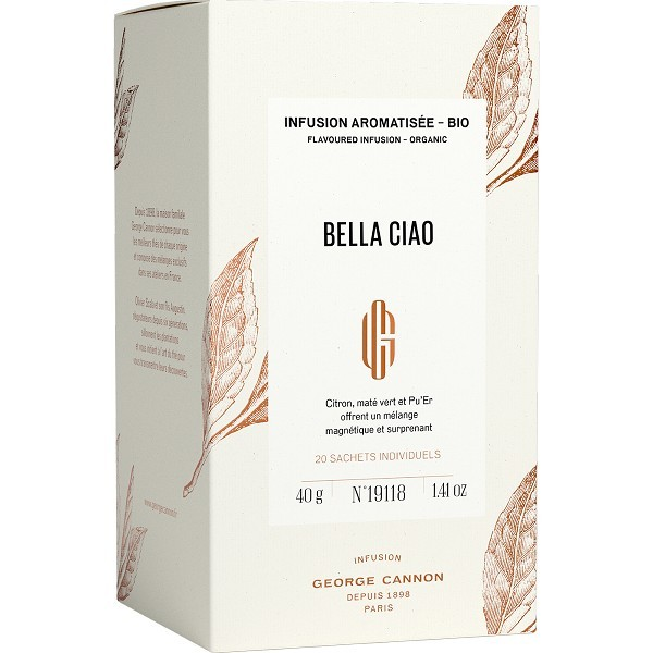 BELLA CIAO - Infusion aromatisée BIO George Cannon - Boîte 20 sachets