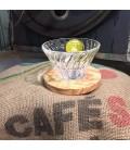 Dripper Hario V60 en verre et bois d'olivier 4 tasses