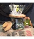 Kit Dripper et cafetière Hario en bois d'Olivier avec 250g de Moka Sauvage